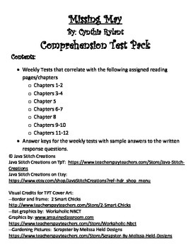 Missing May Common Core Comprehension Test Pack
