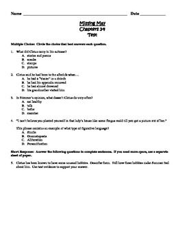 Missing May Common Core Comprehension Test Chapters 3-4
