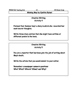Missing May Novel Study Guide