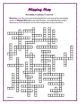 Missing May: Prereading Crossword—50 words! Pair with Bookmarks Plus!
