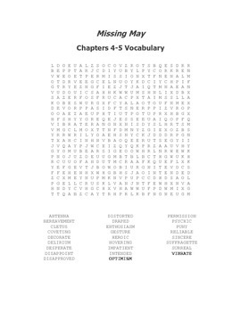 Missing May Vocabulary Word Search Packet