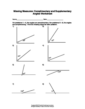 Missing Measures: Complimentary and Supplementary Angles Worksheet
