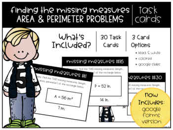 Missing Measures of Area & Perimeter Task Cards