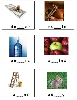 Missing Middle Sounds Consonants DOUBLE letters kindergarten Literacy Center