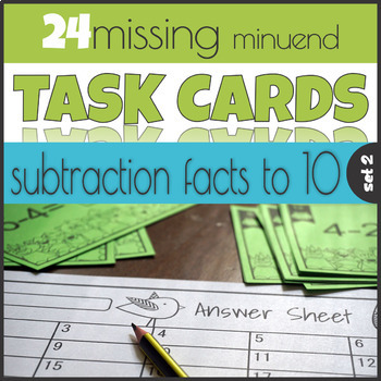 Missing Minuend Task Cards Subtraction to 10