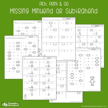 Missing Minuend and Subtrahend Worksheets Find the Missing Number Subtraction