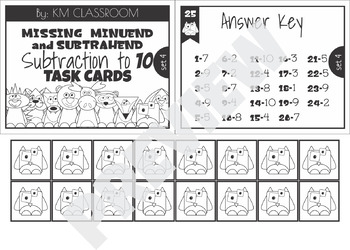 Missing Minuend and Subtrahend Task Cards Subtraction to 10 SCOOT