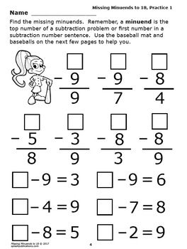 Missing Minuends to 18 Subtraction Worksheets PLUS Full Color Game and Math Mat