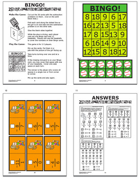 Missing Minuends to 18 Subtraction Worksheets + Full Color Subtraction Game