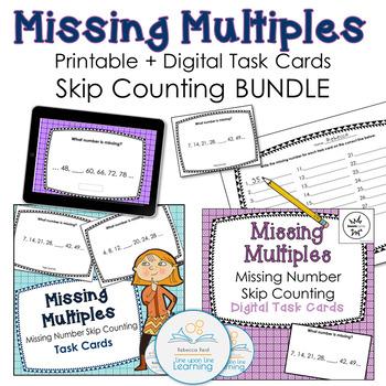 Missing Multiples Task Cards and Digital Task Cards