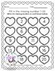 Valentines:Missing Number 1-20 B&W Pre-K and Kindergarten!