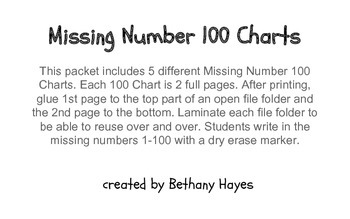 Missing Number 100 Charts