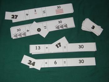 Missing Number Add to 30-Math Center-File folder game