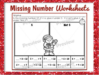 Missing Number Addition Worksheets for Christmas