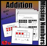 Missing Number Addition Bundle (Colored Mats & Worksheets)