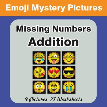 Missing Numbers Addition EMOJI Math Mystery Pictures