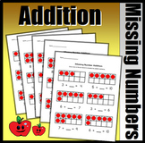 Missing Number Addition Worksheets (Red Counter Version)