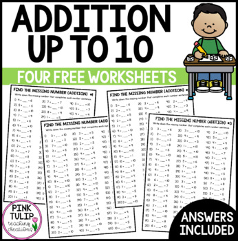 Missing Number Addition Up to 10 - Mental Maths or Early Finisher 4 Worksheets
