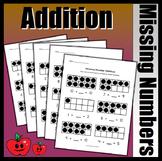 Missing Number Addition Worksheets (Black Counter Version)