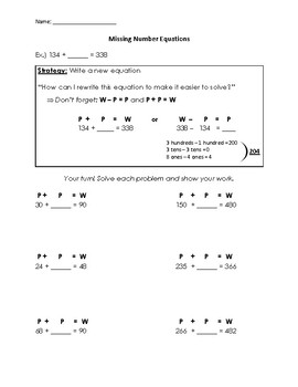 Missing Number Addition and Subtraction Equations Worksheets (with modeling!)