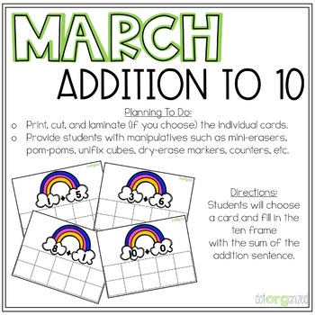 Representing Addition to 10 Kindergarten March Math Center Task Cards