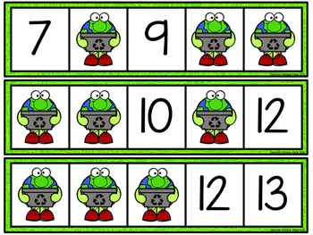 Missing Number Cards: Earth Day (Numbers 1-20)