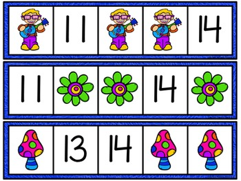 Missing Number Cards: Flower Kids (Numbers 1-20)