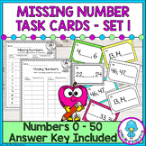 Missing Number Cards Math Center Set 1 - Numbers 0 - 50