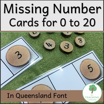 Missing Number Cards on Natural Wood Slices in QLD font for Prep Foundation Year