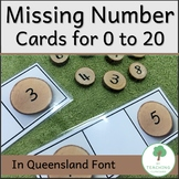 Missing Number Cards on Natural Wood Slices in QLD font fo