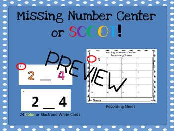 Missing Number Center or Scoot Activity 0-10