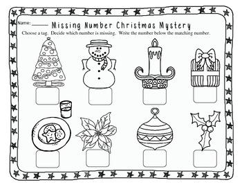 Christmas Missing Number Mystery Freebie