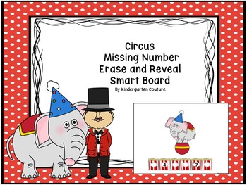 Missing Number (Circus Theme) Erase and Reveal #1-20 For Smart Board