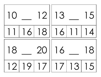 Missing Number Clip Activity 11 to 20