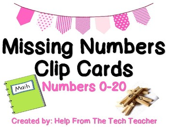 Missing Number Clip Cards (Numbers 0-20)