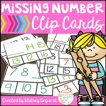 Missing Number Clip Cards (Numbers 0-20) Freebie!