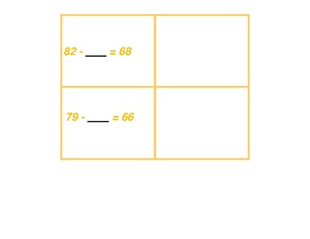 Missing Number Concentration for Subtraction with and without Regrouping