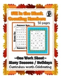 Missing Number - Counting ~ One Work Sheet ~ Many Seasons / Holidays - Halloween