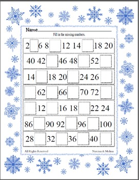 Missing Number - Counting by 2's ~ One Work Sheet ~ Many Seasons / Holidays
