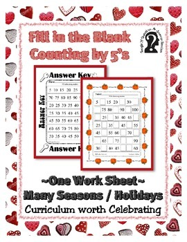 Missing Number - Counting by 5's ~ One Work Sheet ~ Many Seasons / Holidays