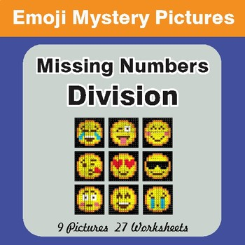 Missing Numbers Division EMOJI Mystery Pictures