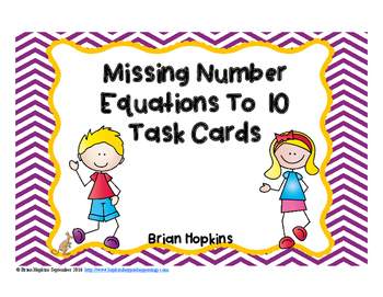 Missing Number Equations Task Cards
