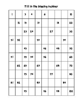 Missing Number Grids 1-100
