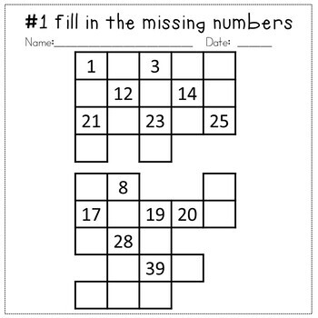 Missing Number Grids - Numbers up to 100