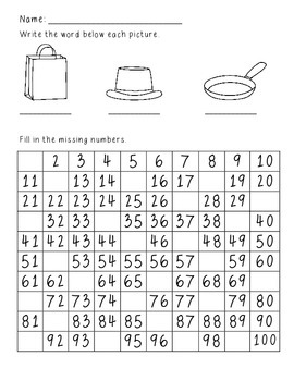 Missing Number Hundreds Chart Homework
