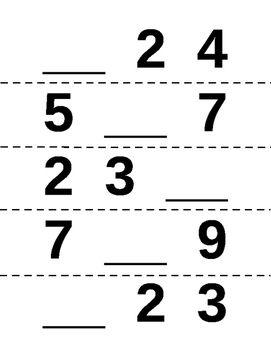 Missing Number Magnet Worksheets