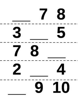 Missing Number Magnet Worksheets