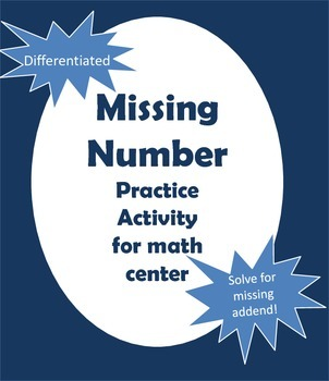Missing Number Math Center Activity