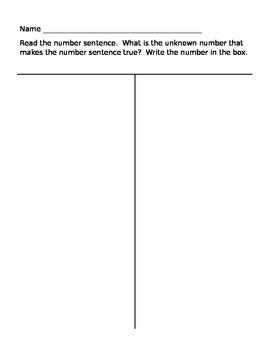 Missing Number Math Sentences
