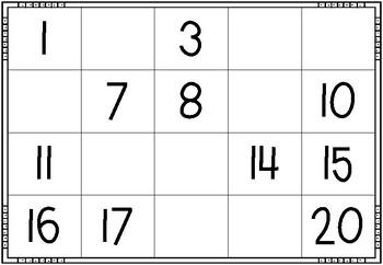 Missing Number Mats 1-20